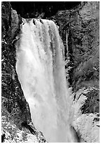 Lower Falls of the Yellowstone river in winter. Yellowstone National Park ( black and white)
