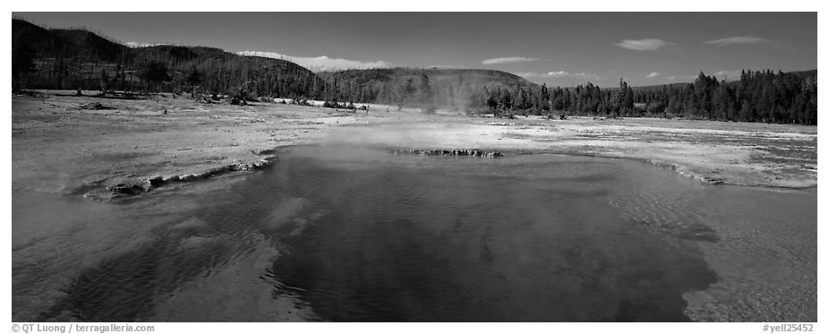 Thermal scenery with hot springs. Yellowstone National Park (black and white)