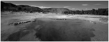 Thermal scenery with hot springs. Yellowstone National Park (Panoramic black and white)