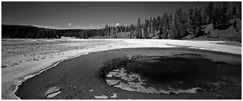 Landscape with thermal pool. Yellowstone National Park (Panoramic black and white)