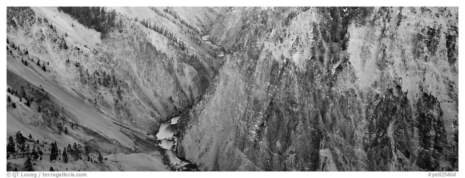 Grand Canyon of Yellowstone. Yellowstone National Park (black and white)