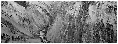 Grand Canyon of Yellowstone. Yellowstone National Park (Panoramic black and white)