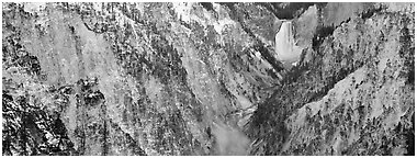 Yellowstone River falls in early winter. Yellowstone National Park (Panoramic black and white)