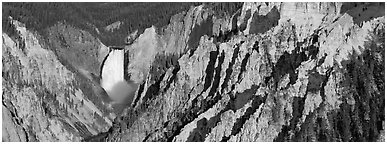 Yellowstone canyon and waterfall. Yellowstone National Park (Panoramic black and white)