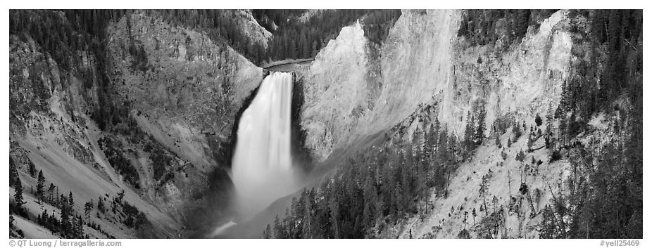 Falls of the Yellowstone River in Grand Canyon of Yellowstone. Yellowstone National Park (black and white)