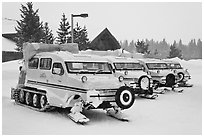 Snow coaches parked at Flagg Ranch. Yellowstone National Park, Wyoming, USA. (black and white)