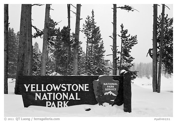 Park entrance sign in winter. Yellowstone National Park (black and white)