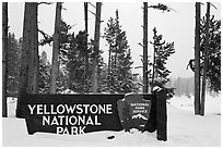 Park entrance sign in winter. Yellowstone National Park ( black and white)