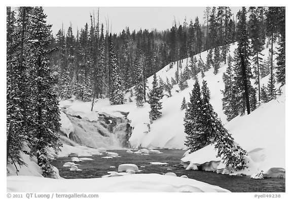 Lewis Falls in winter. Yellowstone National Park (black and white)