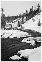 Lewis River and falls, winter. Yellowstone National Park ( black and white)