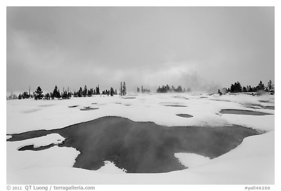 West Thumb Geyser Basin in winter. Yellowstone National Park (black and white)