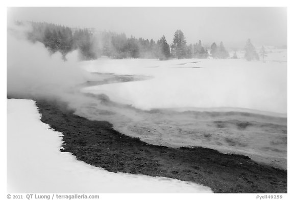 Upper Geyser Basin in winter. Yellowstone National Park (black and white)