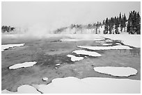 Chromatic Spring in winter. Yellowstone National Park, Wyoming, USA. (black and white)
