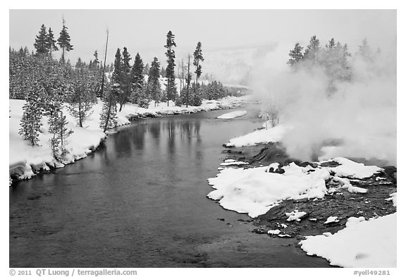 Thermal steam along the Firehole River in winter. Yellowstone National Park (black and white)