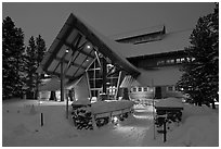 New Visitor Center at night. Yellowstone National Park ( black and white)