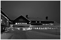Old Faithful Snow Lodge at dusk, winter. Yellowstone National Park ( black and white)