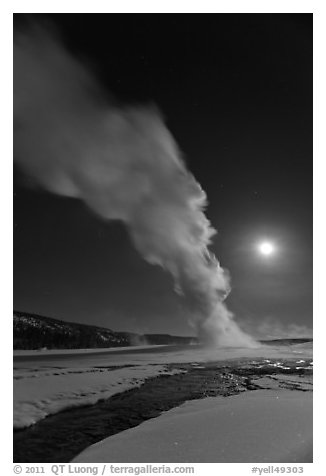 Night view of Old Faithful Geyser in winter with full moon. Yellowstone National Park (black and white)