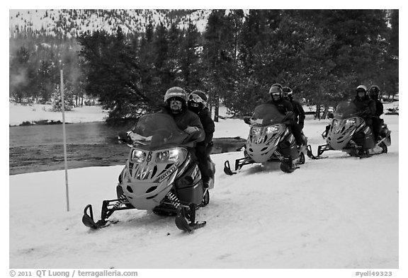 Snowmobile riders. Yellowstone National Park (black and white)