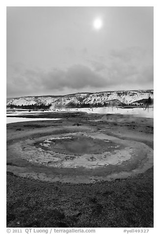 Mustard Spring. Yellowstone National Park (black and white)