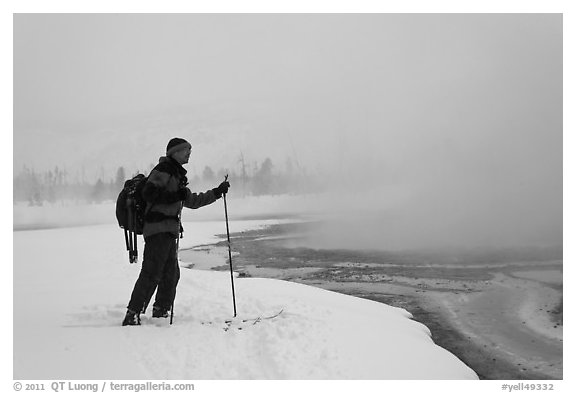 Skier at the edge of thermal pool. Yellowstone National Park (black and white)