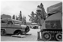 Bombardier snowcoaches. Yellowstone National Park, Wyoming, USA. (black and white)