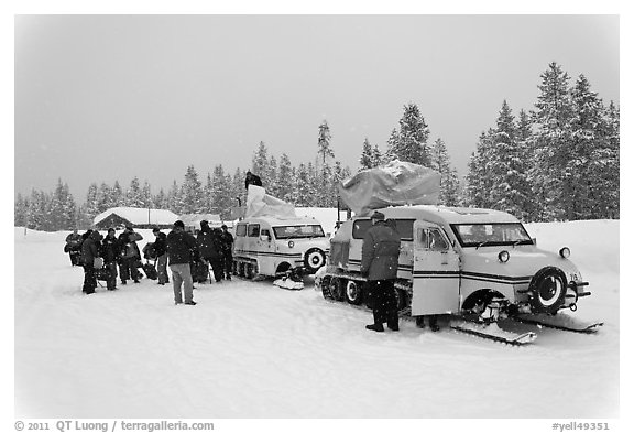 Winter tour snow coaches unloading, Flagg Ranch. Yellowstone National Park (black and white)