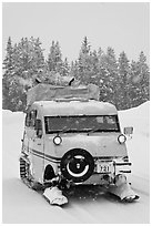 Bombardier snow bus. Yellowstone National Park, Wyoming, USA. (black and white)