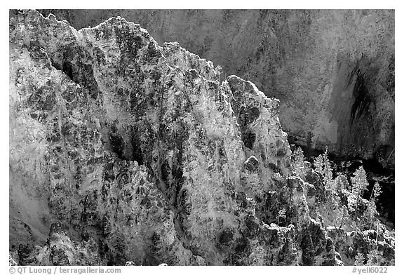 Rock wall in Grand Canyon of the Yellowstone. Yellowstone National Park (black and white)