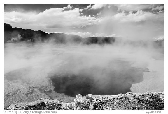 Sapphire Pool. Yellowstone National Park (black and white)