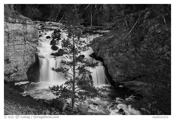 Firehole Falls in Firehole Canyon. Yellowstone National Park (black and white)