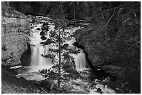 Firehole Falls in Firehole Canyon. Yellowstone National Park ( black and white)