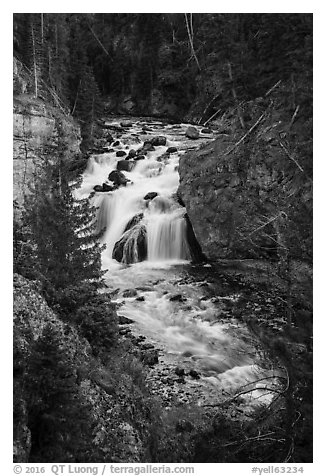 Firehole Falls. Yellowstone National Park (black and white)