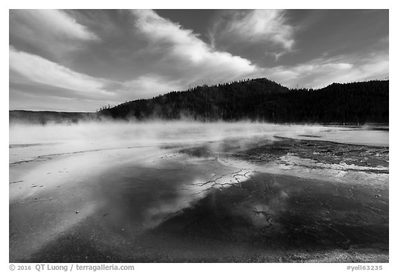 Grand Prismatic Springs with reflected clouds. Yellowstone National Park (black and white)