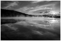 Sunset, Grand Prismatic Springs. Yellowstone National Park ( black and white)