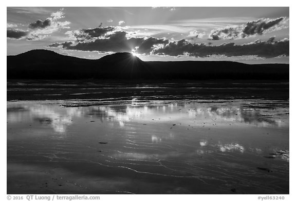 Reflections at sunset, Grand Prismatic Springs. Yellowstone National Park (black and white)