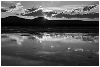 Reflections at sunset, Grand Prismatic Springs. Yellowstone National Park ( black and white)
