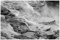 Travertine terraces, Canary Springs. Yellowstone National Park ( black and white)