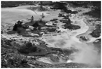 Artist Paint Pots thermal area. Yellowstone National Park ( black and white)
