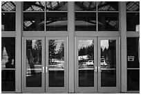 Parking lot, Canyon Village Visitor Education Center window reflexion. Yellowstone National Park ( black and white)