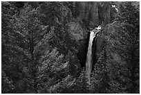 Tower Falls from above. Yellowstone National Park ( black and white)