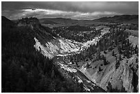 Yellowstone River. Yellowstone National Park ( black and white)