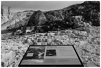 Living Color interpretive sign, Mammoth Hot Springs. Yellowstone National Park ( black and white)