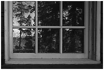 Yellowstone Lake, Fishing Bridge Visitor Center window reflexion. Yellowstone National Park ( black and white)
