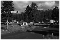 Bridge Bay Campground. Yellowstone National Park ( black and white)