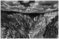 Grand Canyon of the Yellowstone from Artists Point. Yellowstone National Park ( black and white)