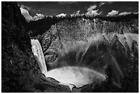 Lower Falls of the Yellowstone River with rainbow. Yellowstone National Park ( black and white)