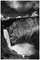Lower Falls of the Yellowstone River from Uncle Tom Trail. Yellowstone National Park ( black and white)