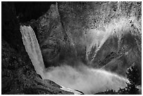 Lower Falls and rainbow, Grand Canyon of the Yellowstone. Yellowstone National Park ( black and white)