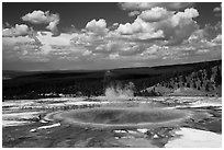 Grand Prismatic Spring from above. Yellowstone National Park ( black and white)