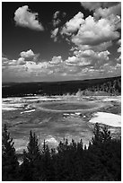 Grand Prismatic Spring from new overlook. Yellowstone National Park ( black and white)